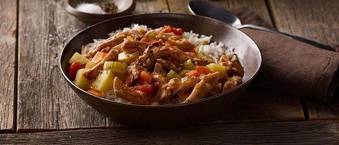 Pulled pork stew served over rice.