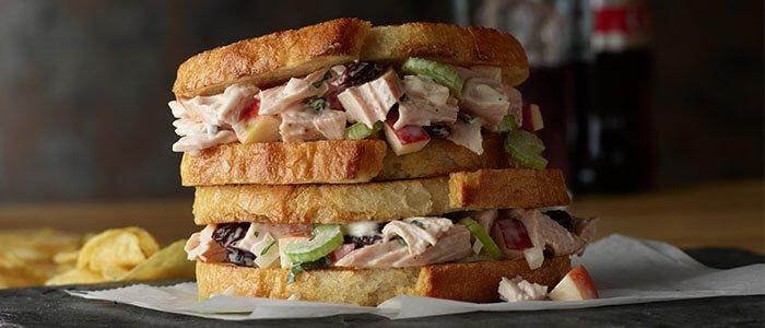 SADLER'S SMOKEHOUSE® Smoky Turkey Salad in a Sandwhich.