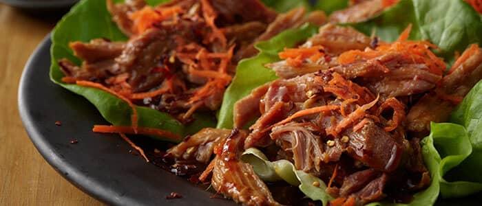 SADLER'S SMOKEHOUSE® pulled pork asian wraps.