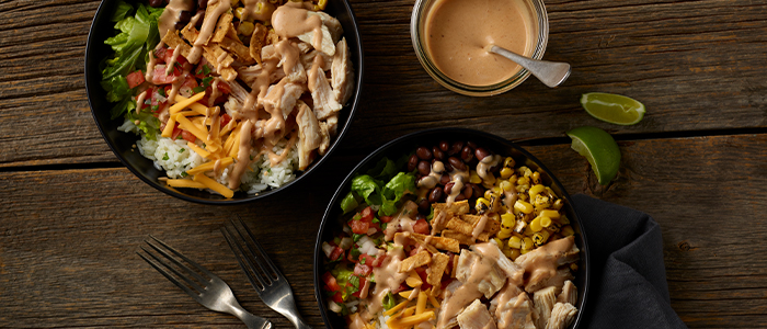 Pulled Chicken Barbeque Burrito Bowls.